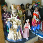 The king and cast of the Hour Glass Dress- rod puppets